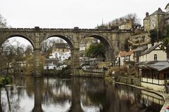 stone viaduct at knaresborough - stock photo