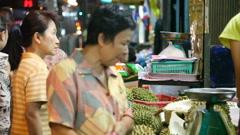 Street market in Bangkok Stock Footage