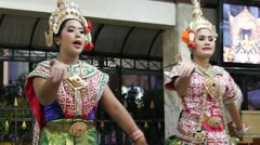 Traditional thai dancers singing Stock Footage