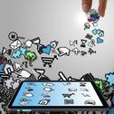 Tablet computer with pixel computer icons Stock Illustration