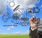 Stock Illustration of engineer draws hybrid power system,combine multiple sources diagram