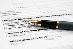 Islamic marriage certificate Stock Photos