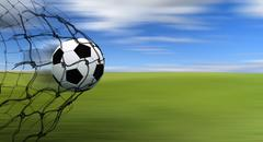 soccer ball in a net - stock illustration