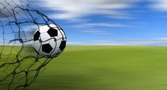 Stock Illustration of soccer ball in a net