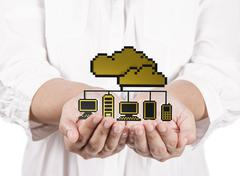 hands hold golden pixel cloud network sign as concept - stock illustration
