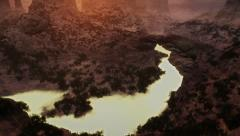 (1278) Canyon sunset flythrough river arch wilderness animation geology Stock Footage