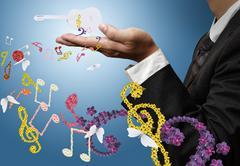 Muusikko esittää klassista kitaraa ja kukka musiikki Piirros