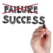 Stock Illustration of hand crossing out failure and writing success