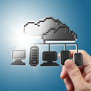 hand holds pixel cloud network icon sign - stock illustration