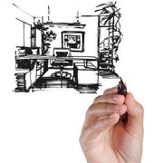 Stock Illustration of armchair against a wall monochrome drawing