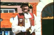 Town Crier in costume, talks close up, Kings Square, St. George, Bermuda Stock Footage