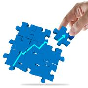 hand picks success puzzle as concept - stock illustration