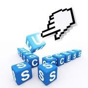 Stock Illustration of hand cursor and word solution