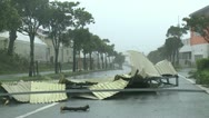 Stock Video Footage of Hurricane Damage Debris Blocks Road