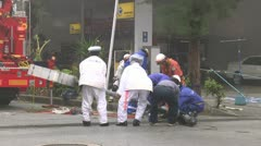 Emergency Crew Remove Damaged Sign In Storm Stock Footage