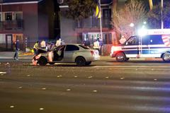 Car accident with 2 cars collision Stock Photos