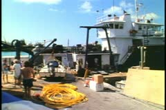 Marine Biological Station, Bermuda, ship and workers Stock Footage