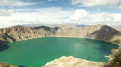 Stock Video Footage of Zoom out time lapse over the Quilotoa crater in Ecuador The 3 kilometers wide