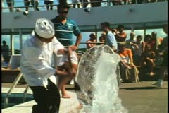 Ice sculptures being carved on the deck of a cruise ship Stock Footage