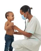 black african american nurse with child isolated - stock photo