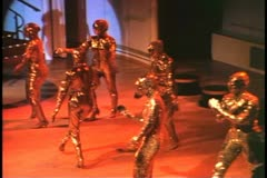 Stage Show on a cruise ship, dancers, showgirls, lavish costumes, Oscars Stock Footage