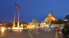 Timelapse street and temple evening Stock Footage