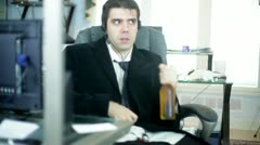 bad employee drunk on the job work sucks - stock footage