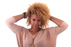Beautiful african woman smiling with long hair afro curly Stock Photos