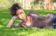 African american black girl child to the park Stock Photos