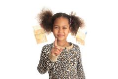 african american child with asiatic black money euros on hair - stock photo