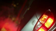 Blinker car emergency breakdown wreck wrecked Stock Footage