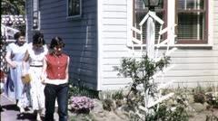 Goofy Kids Teen Girls ADMIRING Flower Garden 1940s Vintage Film Home Movie 4579 Stock Footage