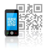 cell phone with qr code - stock illustration