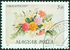 Stamp printed in Hungary, is depicted Flower Arrangements Stock Photos