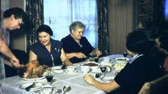 Happy Women Table CHRISTMAS Dinner Family Meal 40s Vintage Film Home Movie 4580 Stock Footage