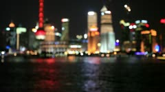 "Defocused cityscape lights-Shanghai.>>>Please search more: ""ShanghaiSkyline"" Stock Footage"