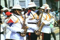 Bermuda Regimental Marching Band ,three saxophone players Stock Footage