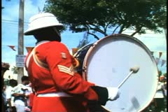 Bermuda Regimental Marching Band, big bass drum, low Stock Footage