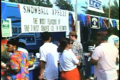 Snow cone stand at Labor Day picnic in Hamilton, Bermuda - stock footage