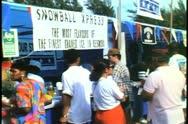 Snow cone stand at Labor Day picnic in Hamilton, Bermuda Stock Footage
