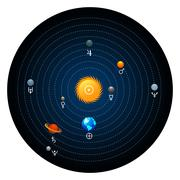 Stock Illustration of Planet of solar system with astronomical signs of the planets. Circle form