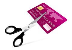 Sakset leikkaus luottokortilla kuva Piirros