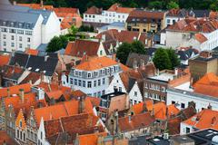 Stock Photo of roofs of flemish houses in brugge, belgium