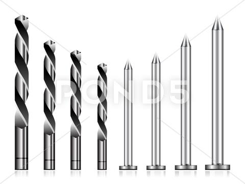Stock Illustration of realistic drill bit and steel nail