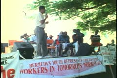 Sir John Swan, premier, speaks at Labor Day picnic in Hamilton, Bermuda - stock footage