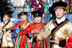 Mongolian dancers at shrovetide Stock Photos