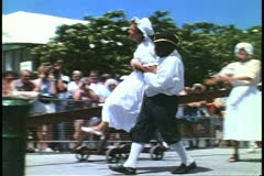 Carry wench to the dunking chair, Kings Square, St. George, Bermuda - stock footage