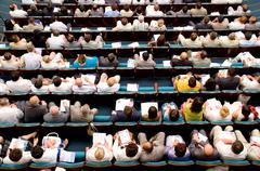 top view at audience - stock photo