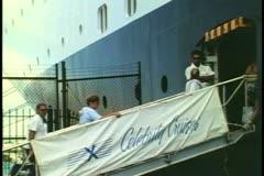 Ship's gangway, people walking aboard, cruise ship, St. George, Bermuda Stock Footage