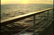 Rail of the cruise ship at sunset, no people, Atlantic Ocean Stock Footage